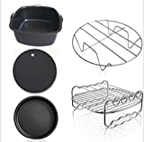 Air Fryer Accessories,for Phillips Air Fryer and Gowise Air Fryer Deep Fryer Universal, Cake Barrel, Pizza Pan, Silicone Mat, Skewer Rack, Metal holder Fit all 3.7QT-5.3QT-5.8QT (7 fan)