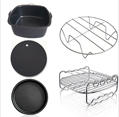 Air Fryer Accessories,for Phillips Air Fryer and Gowise Air Fryer Deep Fryer Universal, Cake Barrel, Pizza Pan, Silicone Mat, Skewer Rack, Metal holder Fit all 3.7QT-5.3QT-5.8QT (7 (Chef Skewers)