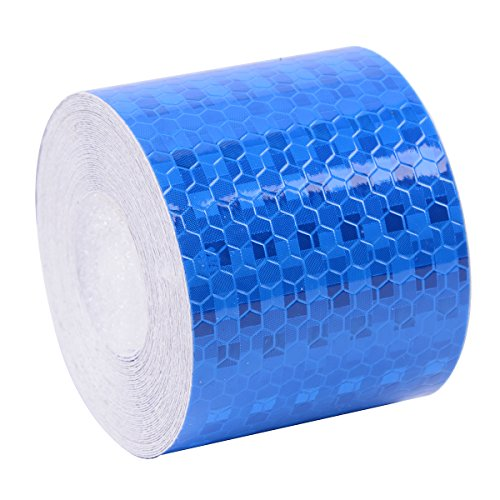 Brightplus 5cm x 3.6m Safety Reflective Tape Hexagonal Honeycomb Patterns Self-adhesive Warning Conspicuity Film Sticker For Trucks,Trailers,Car,Bikers and Daily Joggers (Blue) - Blue Mailbox Reflector