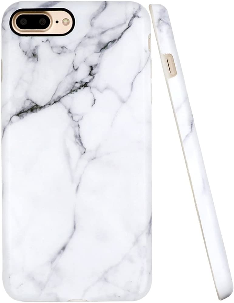 A-Focus Case for iPhone 8 Plus Case, iPhone 7 Plus Case, White Marble Stone Pattern IMD Anti-Scratch Anti-Finger Slim Flexible TPU Cover Case for iPhone 7 Plus 8 Plus 5.5 inch Matte Gray 2
