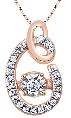 White Natural Diamond C Initial Pendant Necklace In 14K Rose Gold Over Sterling Silver (0.06 Ct) 0.06 Ct Initial Pendant