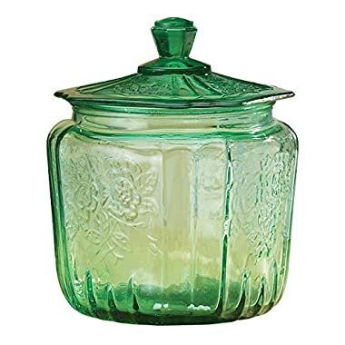 Miles Kimball Green Depression Style Glass Biscuit Jar by Miles Kimball