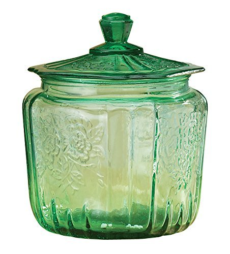 Miles Kimball Depression Style Glass Biscuit Jar with Lid, Classic Green