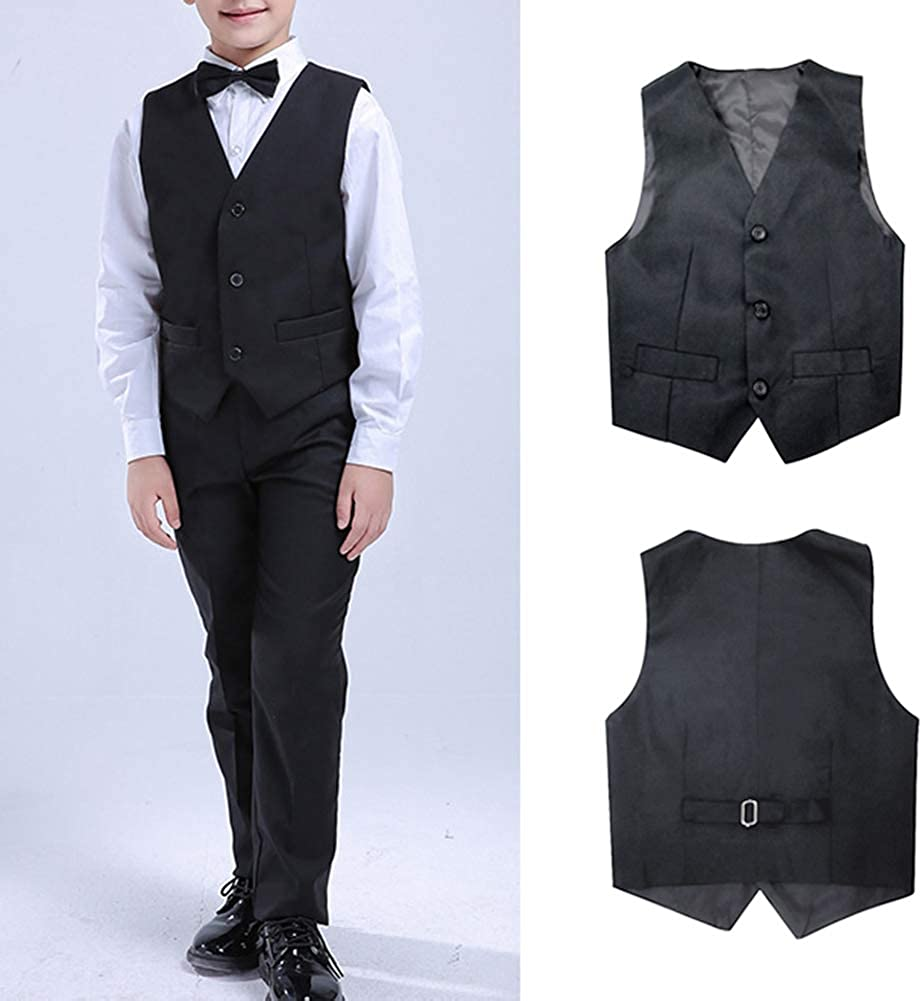 5Pcs Boys Suit Black Tuxedo Blazer Vest Bowtie Set Kids Formal Suits for Wedding Party