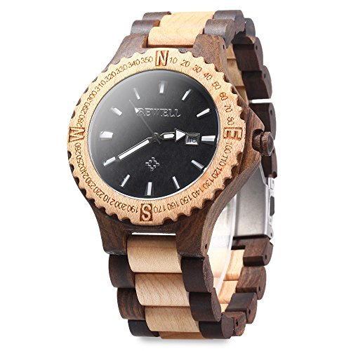 bewell-zs-w023a-men-wooden-bangle-quartz-watch-with-calendar-display