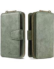 جراب محفظة لهاتف iPhone 11 Pro، جراب محفظة قلاب بسحاب من الجلد الفاخر مع 10 فتحات للبطاقات، أخضر
