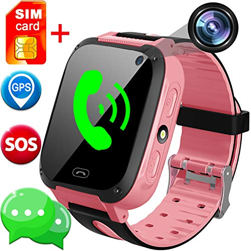 SIM Card Included Kids Smart Watch with GPS Tracker- 1.44 Smart Watch Phone for Boys Girls with SOS Camera Pedometer Kids Wearable Digital Watch Bracelet Wristband Birthday Gifts (Pink)