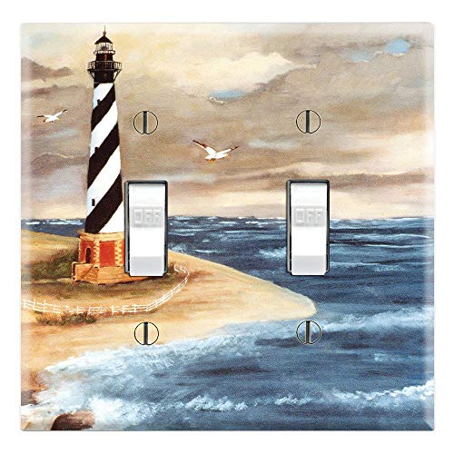 Graphics Wallplates - Cape Hatteras Lighthouse - Double Toggle Wall Plate ()