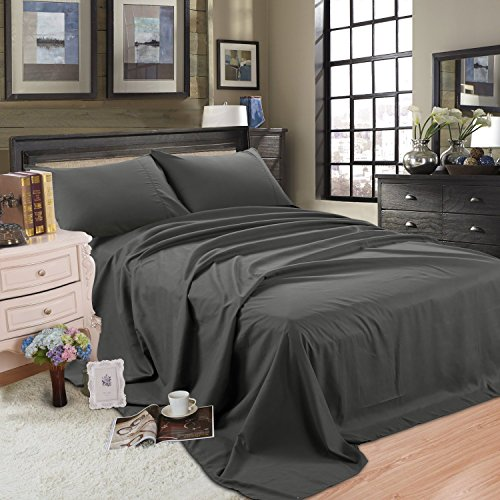 Bed Sheet Set 100% Cotton sheets with 18-Inch Wrinkle, Fade, Stain Resistant - Hypoallergenic -Deep Pocket Flat/Fitted Sheet/Pillow Case (Cotton-Dark Grey, Twin XL)