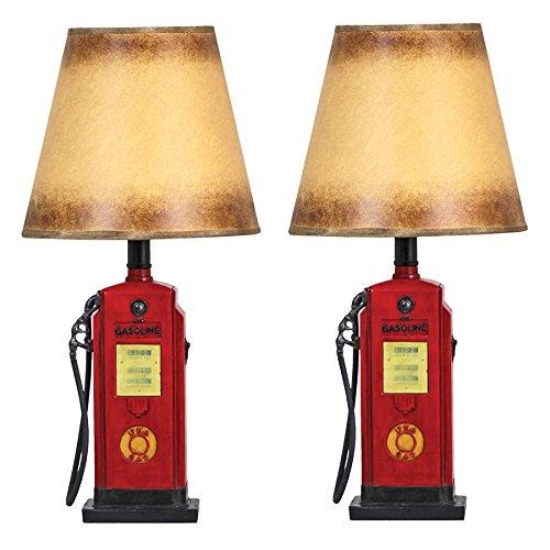 (Design Toscano Retro Gasoline Pump Table Lamp: Set of Two)