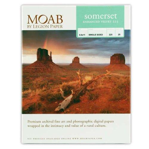Velvet Paper Legion - Legion Moab Somerset Enhanced Velvet Paper 225, 8.5 X 11 inches, 25 Sheets (I98-SEV2258)