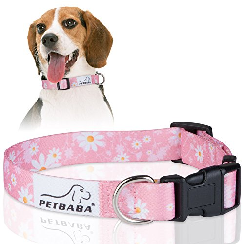 PETBABA Daisy Dog Collar, Adjustable Soft Collar with Floral Pattern Flower Print, Quick Release Clip Easy On and Off, Suitable Small to Medium Cat Pet - S in Pink ()