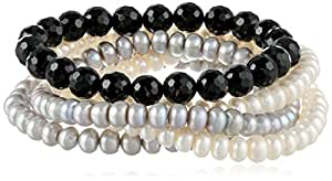 6-7mm White Freshwater Cultured and Dyed Silver Gray Button Pearl and 8-8.5 mm Faceted Black Agate Stretch Bracelets 5-Piece Set, 7.5""