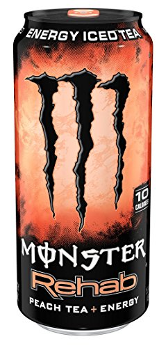 Monster Rehab, Peach Tea + Energy, 15.5 Ounce (Pack of 24) (Monster Energy Cans)