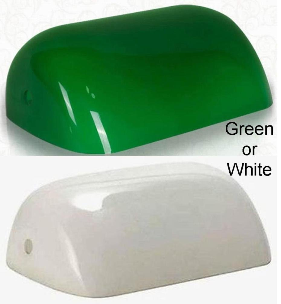 Green or white glass bankers lamp shade industry standard green or white glass bankers lamp shade industry standard replacement lampshade in stock ships 1 day optiongreen amazon mozeypictures Gallery