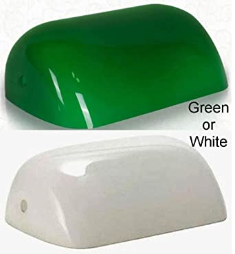 GREEN or WHITE - Glass Bankers Lamp Shade Industry Standard ...