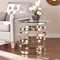 Harper Blvd Berclay Side/ End Table | Circular Interlocking Base Design | 21. 25 Inches High x 23. 25 Inches Wide x 23. 25 Inches Deep