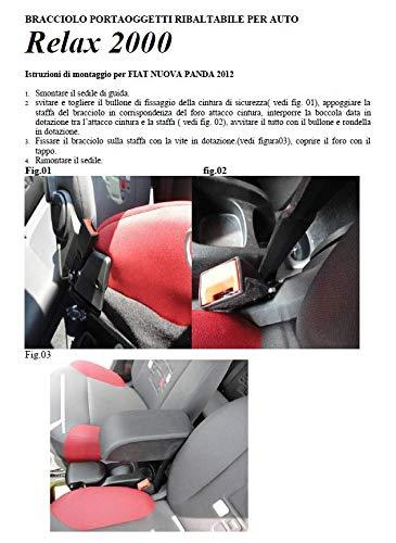 Si Monta Senza forare e 500 L per Fiat Panda dal 2012 Tecnostamp Bracciolo portaoggetti