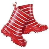 POLARN O. PYRET CLASSIC STRIPE RAIN BOOTS (2-6YRS) - 11US/28EU/Ski Patrol