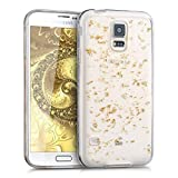 kwmobile Crystal TPU Silicone Case for Samsung Galaxy S5 / S5 Neo / S5 LTE+ / S5 Duos in Design flakes gold transparent