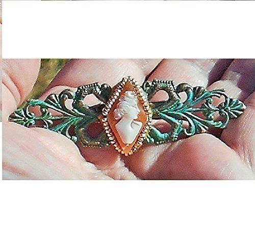 Bezel Diamond Brooch (Vintage Hand Carved Diamond Shape TINY Shell Cameo of Lady Set in Gold Seed Bezel on Verdigris Patina Openwork Brass Brooch.)