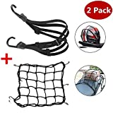 1 Pc Motorcycle Helmet Net Luggage Cargo Net 40x40 cm + 1 Pc Elastic Luggage Strap 60cm, Spider Elastic Heavy-duty Elasticated Bungee Comes with 6 Hooks for Secure, Black.