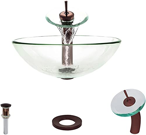601 Crystal Oil Rubbed Bronze Waterfall Faucet Bathroom Ensemble