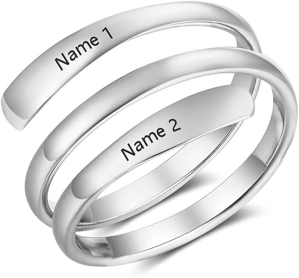 XiXi Personalizado Anillos Plata Mujer Ajustables 2 Nombre Grabado BFF Anillos para Madre Pareja Regalo en Aniversario Día de San Valentín
