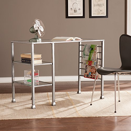 42 Wide Glass Writing Desk – Two Fixed Shelves – Silver Distressed Metal Finish