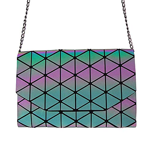 - Geometric Shard Lattice Crossbody Metal Chain Shoulder Messenger Luminous Bags for Women PU Leather Holographic Purse (colorful1)
