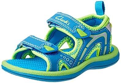 Clarks Boys' Fear II Fashion Sandals, Blue/Lime, 33 EU (1 AU)