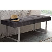 Iconic Home Wayne PU Leather Modern Contemporary Tufted Seating Square Leg Bench, Dark Grey Croc