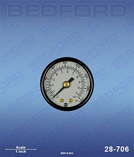 BEDFORD Bedford 28-706 Gauge, 1/8 in. NPT Rear Mount, 0-160 PSI, 1-1/2 in. (Part Mount Rear Repair)