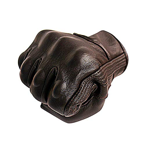 Full Finger Brown Leather Men Motorcycle Gloves Touchscreen Armored Motorbike Gloves (S, Brown,Non-Perforated)