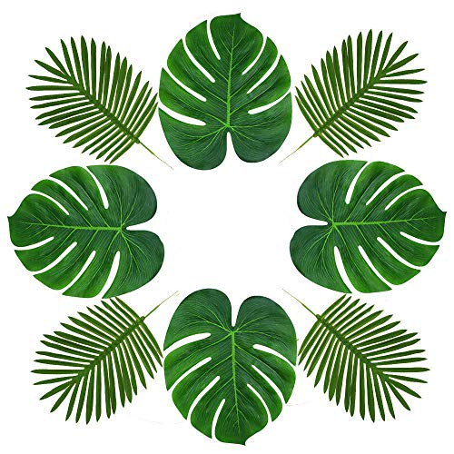 Soyee 24pcs Tropical Palm Leaves and 12pcs Artificial Stem plant Leaves | Tropical party Supplies for Hawaiian Luau Safari Party Table Decorations| Creative Real Tropical Atmosphere Suit-36pcs for $<!--$17.99-->