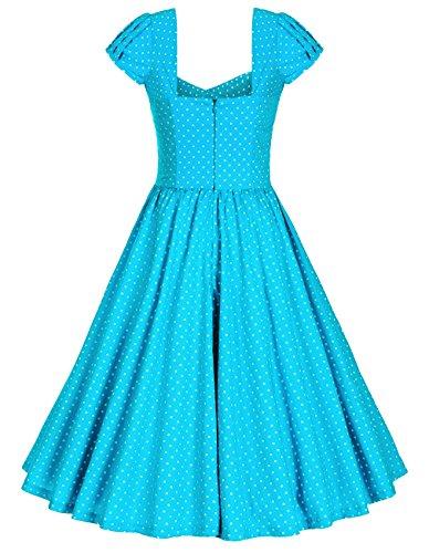 MUXXN Falda de Oscilacion Grande Rock de Velada Punto de la Onda Retro para Mujer Turquoise Dot