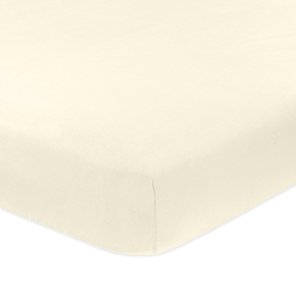 Ivory Solid 1 PCs Fitted/Bottom Sheet Only Queen Size Bland Durable Elastic all around for a perfect fit 400-Thread-Count (15'' Pockets) Egyptian Cotton by Rajlinen