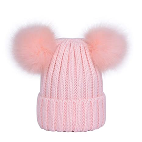 c2948a583e1af3 Lau's Kid Boys Girls Beanie Bobble Hat Knit Winter Hats with 2 pom poms  Black: Amazon.ca: Luggage & Bags