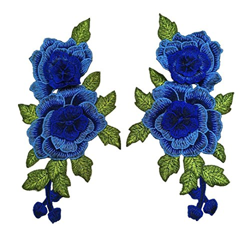 1pair Blue Flower Embroidered Sew On Patches (Blue) (Blue Flower Patch)