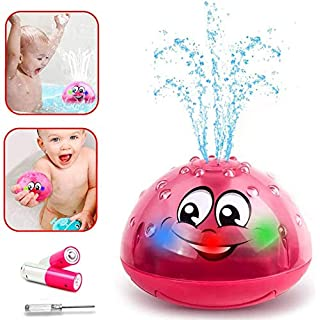 Baby Bath Toys LED Light Up Bathtub Toys Water Spray Toys for Kids Shines Sprinkler Bath Toy for Toddlers 1-3-Red