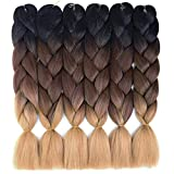 6 Packs Ombre Braiding Hair Kanekalon Jumbo Braiding Hair Extensions 24 Inch Jumbo Braids for Twist Crochet Braiding Hair for Women (Black-Brown-Light Brown) (Color: Black-Brown-Light Brown)