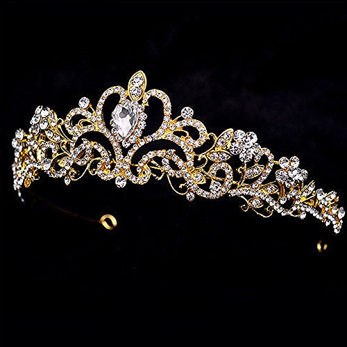 Sparkle Metal Jeweled Crystal Rhinestone Queen Crown Tiara Headband Bridal Pageant (Gold) - Queen Mothers Birthday