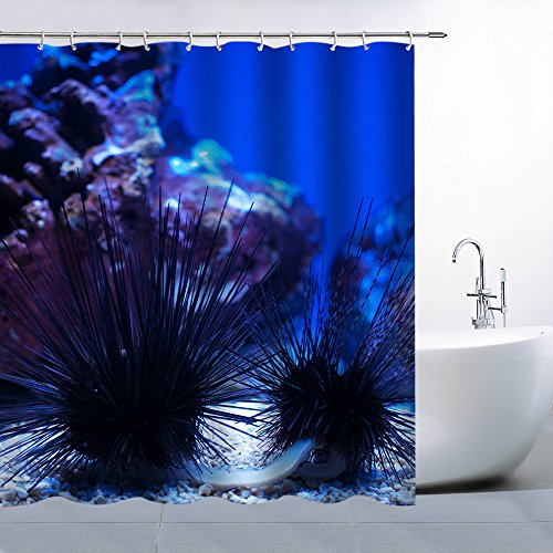 - The Underwater World Theme Shower Curtain Bathroom Supplies Dark Blue Black Underwater Plant Sea Urchin Landscape Creative Personality Beautiful Waterproof And Mildew Pendant 70x70 Inches