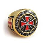 Knights Templar Freemason Ring. York Rite Colorful Gold Plated Stainless Steel Knights of Templar Red Cross Freemason Ring - cross center design and etched symbols. Masonic Gifts Jewelry