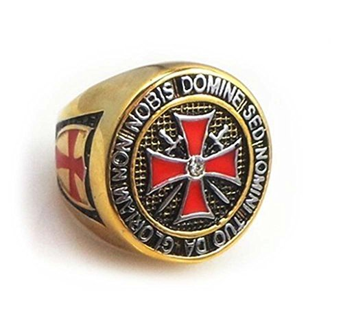 Knights Templar Freemason Ring. York Rite Colorful Gold Plated Stainless Steel Knights of Templar Red Cross Freemason Ring - Cross Center Design and Etched Symbols. Masonic Gifts Jewelry (Size 13) ()