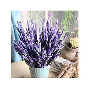 Elevin(TM) 12Heads Artificial PE Lavender Fake Flower Wedding Bouquet Party Home Decor (D Purple) 3