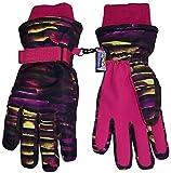 N'Ice Caps Kids Cold Weather Waterproof Camo Print Thinsulate Ski Gloves (Fuchsia Neon Stripe, 10-12 Years)