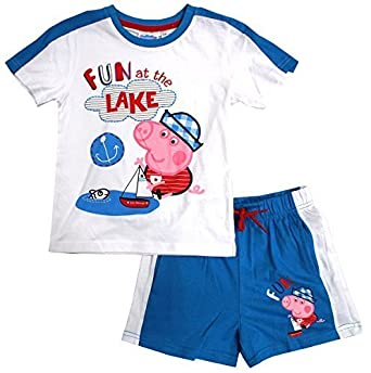 3b7871f1a Boys Shorts & T-Shirt Outfit Peppa George Pig Fun at The Lake Set Sizes  from 3 to 8 Years: Amazon.co.uk: Clothing