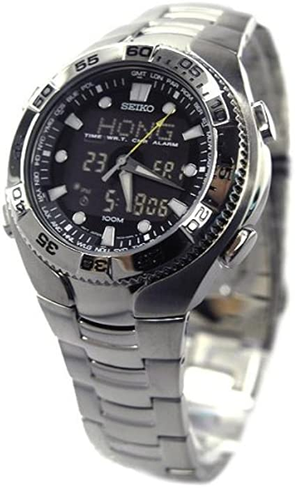 Seiko #SNJ013 Mens World Time Analog Digital Chronograph Alarm Watch