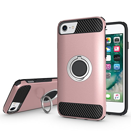 Ownest Compatible with iPhone 7 Case,iPhone 8 Case with Armor Dual Layer 2 in 1 with Extreme Heavy Duty Protection and Finger Ring Holder Kickstand Magnetic Car Mount for iPhone 7,iPhone 8 -Rose Gold